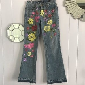 Vintage Express Painted Floral Jeans 1/2